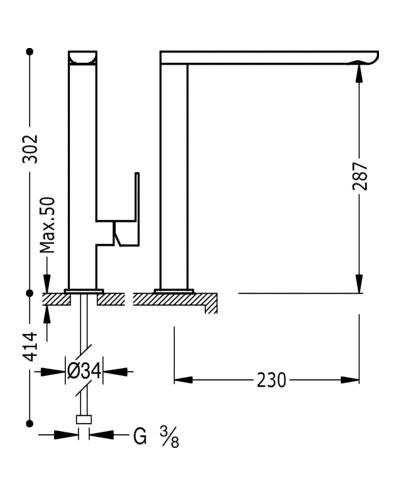 monomando-vertical-dibujo-tecnico