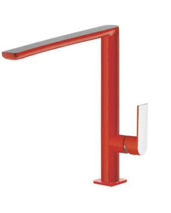 Grifo monomando vertical de color rojo