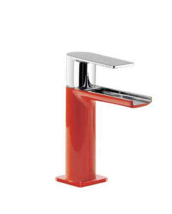 Grifo monomando en cascada para lavabo rojo